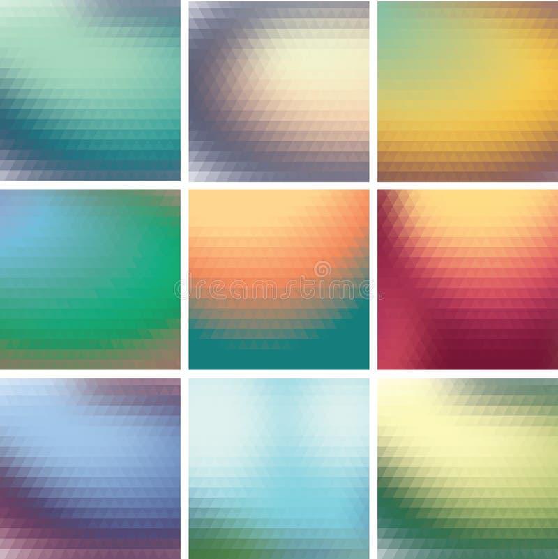 Fastställd färgrik mosaikbakgrund av trianglar stock illustrationer