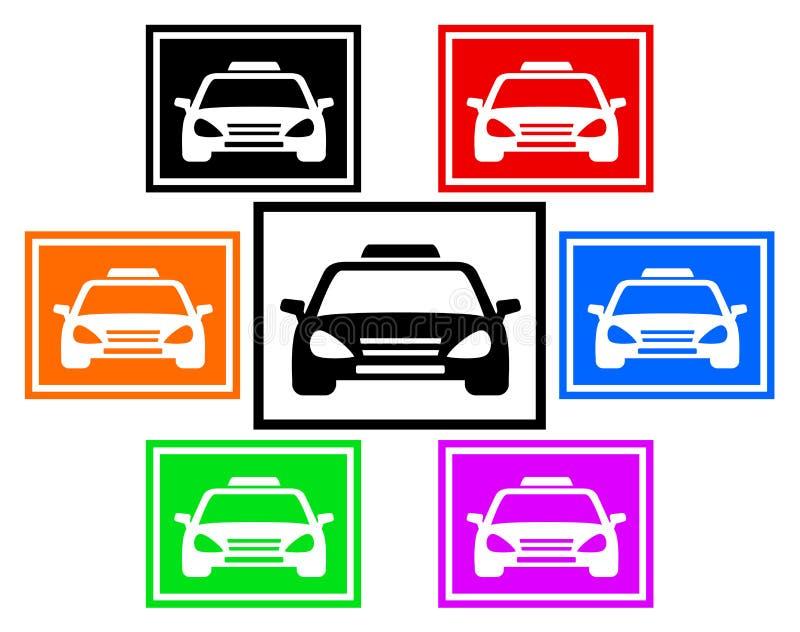 Fastställd färgrik symbol med taxibilen royaltyfri illustrationer