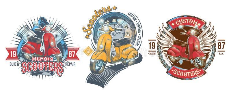 Fastställd färgtappning förser med märke, emblem med en beställnings- sparkcykel stock illustrationer