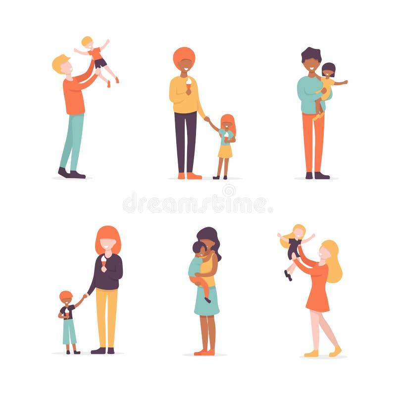 Fastställd familj, mödrar och fathrs med barn vektor illustrationer