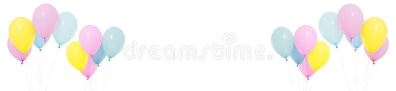 Fastställd flygaballong på isolerad vit bakgrund, ferier och födelsedagbegrepp vektor illustrationer