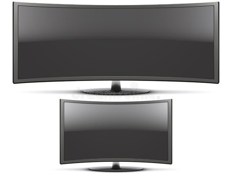 Fastställd Frontal sikt av krökt widescreen lett eller lcd stock illustrationer