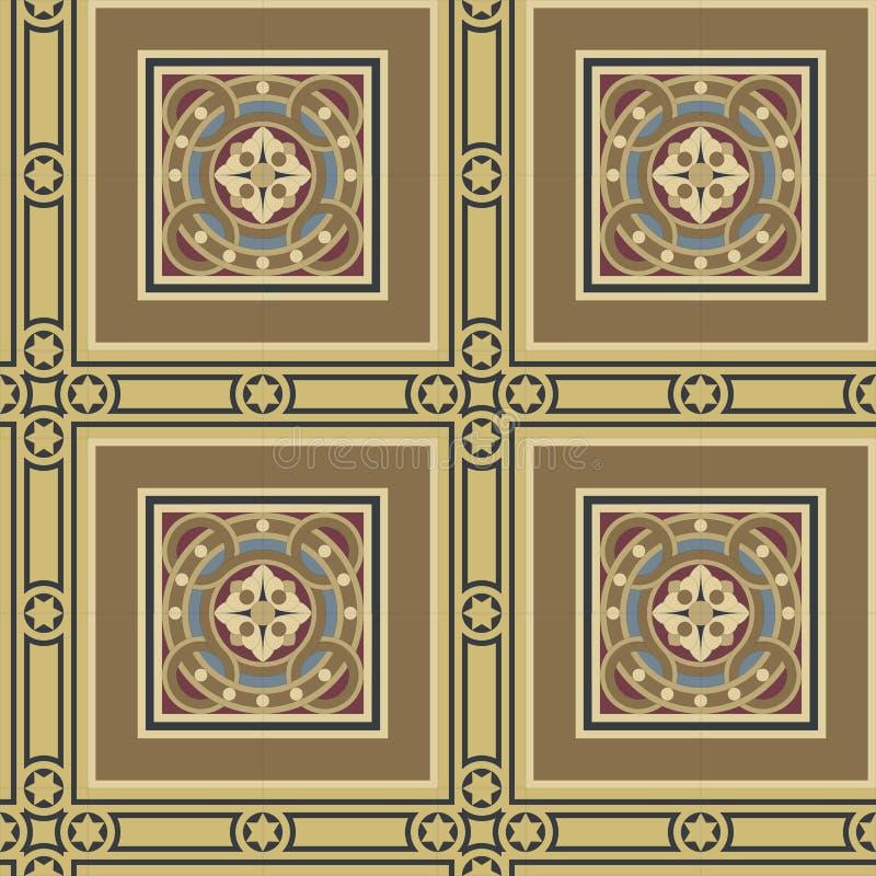 Fastställd fyrkant för sömlös tegelplatta för tappning dekorativ stock illustrationer