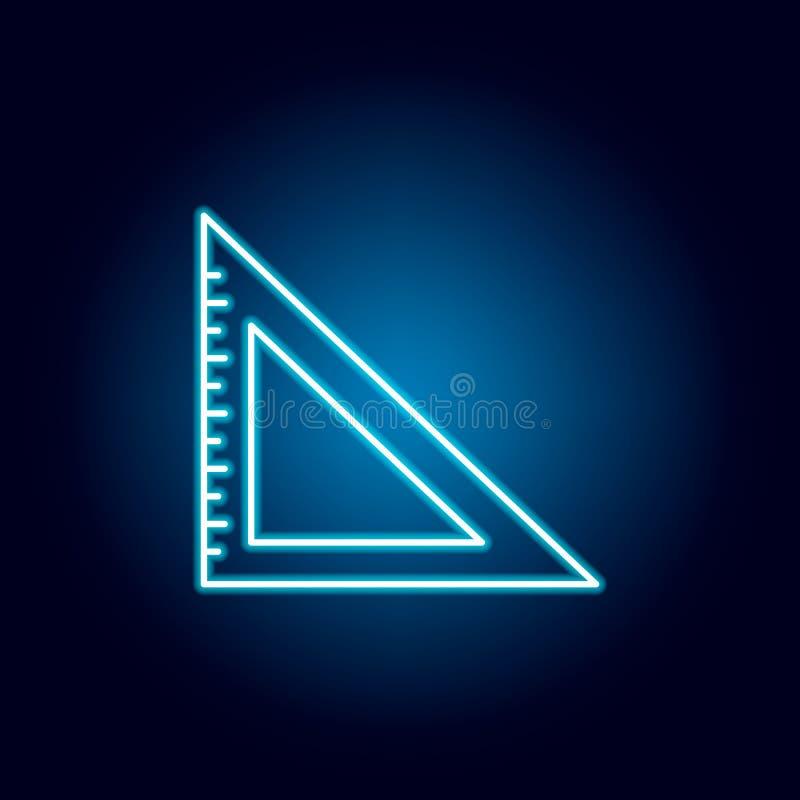 fastställd fyrkant, måttöversiktssymbol i neonstil beståndsdelar av utbildningsillustrationlinjen symbol tecknet symboler kan anv stock illustrationer