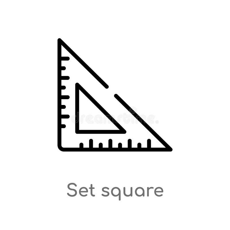 fastställd fyrkantig vektorsymbol för översikt isolerad svart enkel linje best?ndsdelillustration fr?n utbildningsbegrepp rediger stock illustrationer