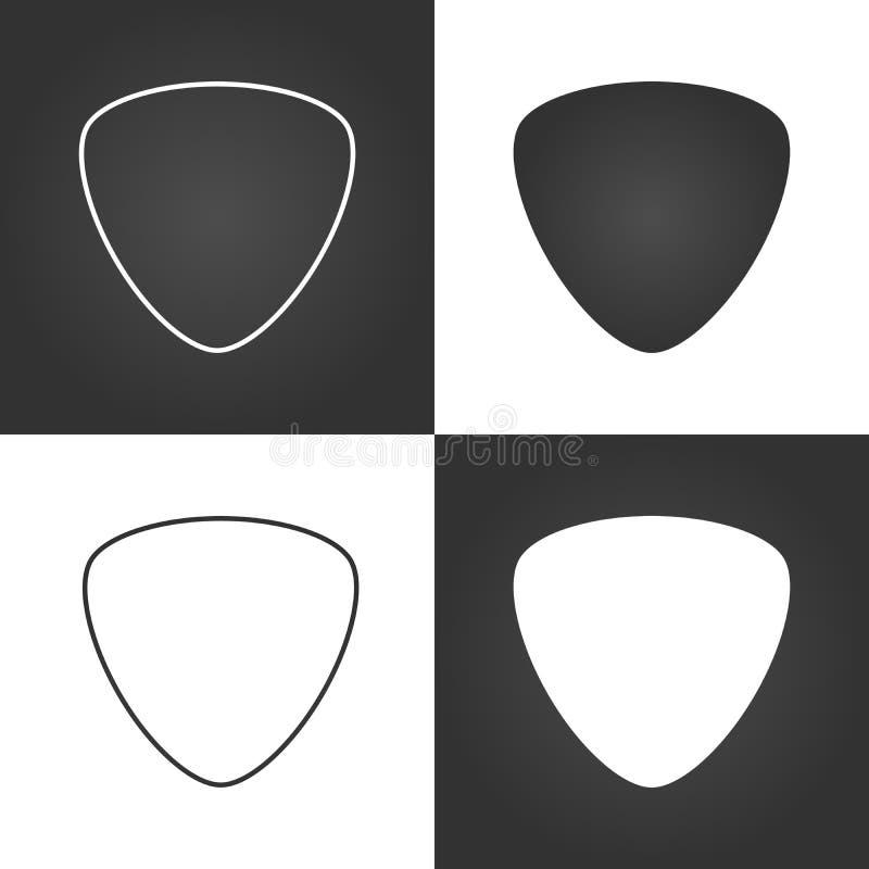 Fastställd gitarrhackasymbol, medlare, vektorillustration vektor illustrationer