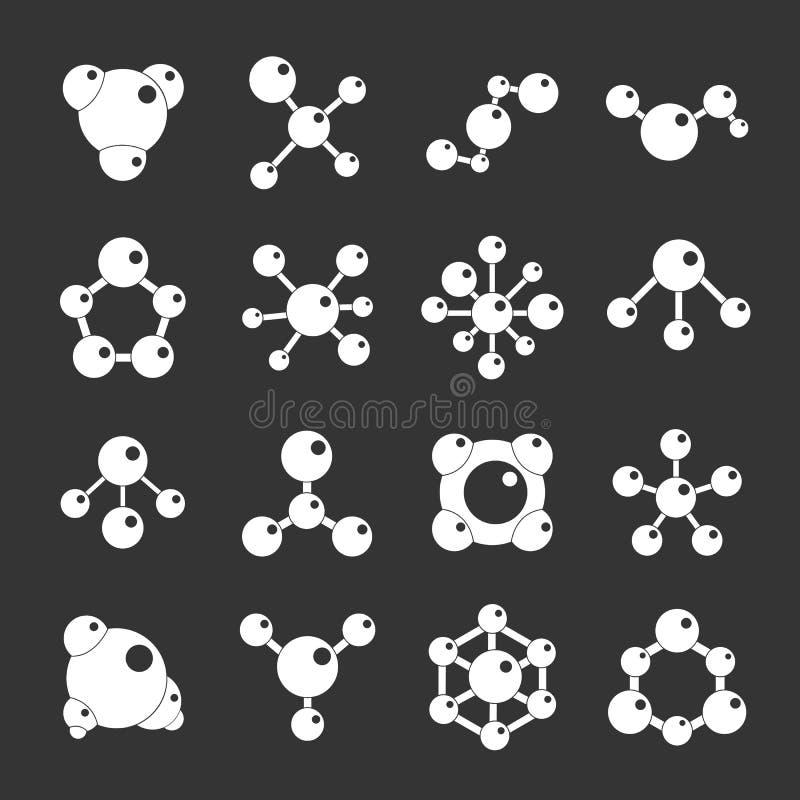 Fastställd grå vektor för molekylsymboler royaltyfri illustrationer