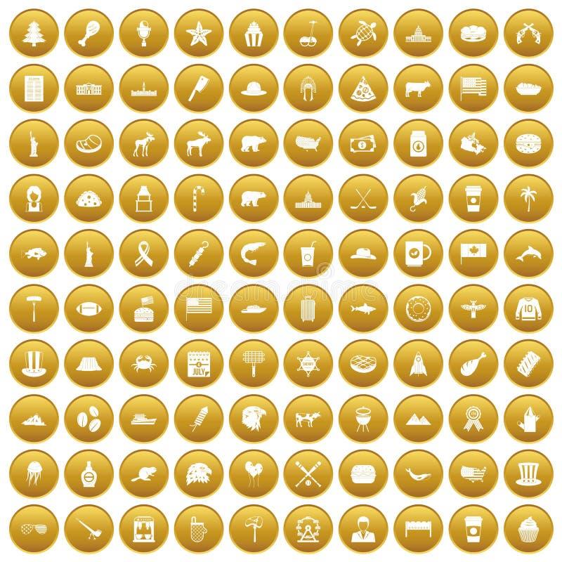 Fastställd guld för 100 Nordamerika symboler royaltyfri illustrationer