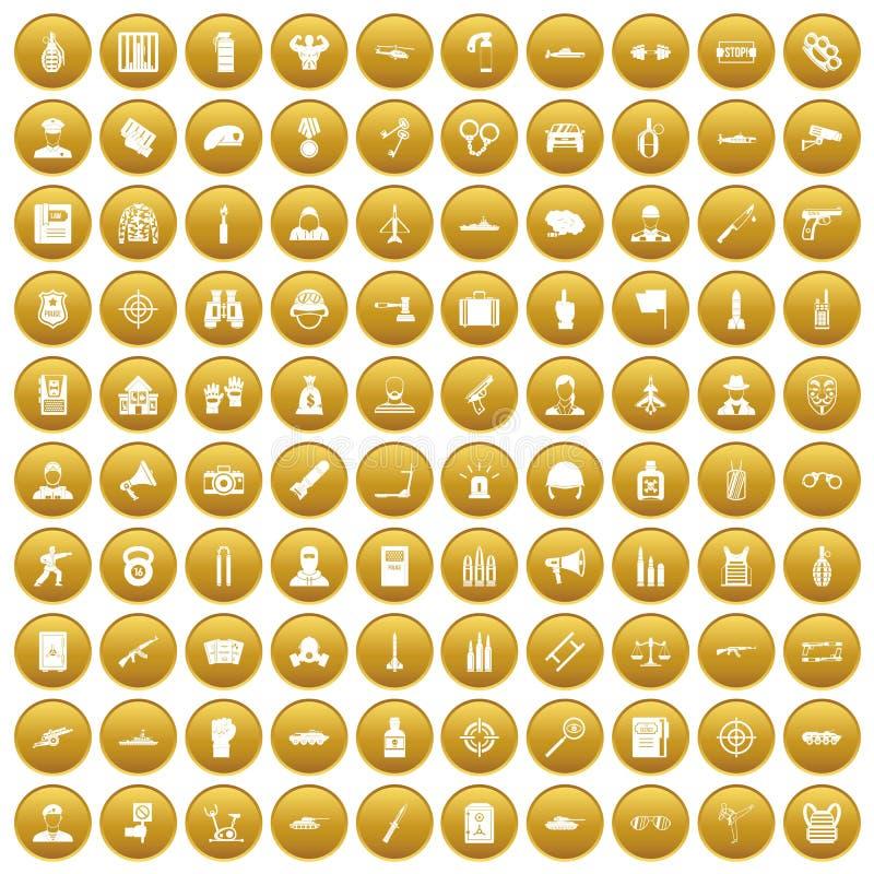 fastställd guld för 100 tjänstemansymboler stock illustrationer