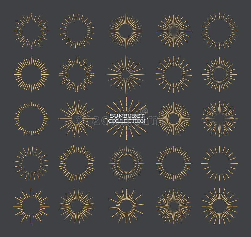 Fastställd guld- stil för Sunburst som isoleras på grå bakgrund för logotyp stock illustrationer