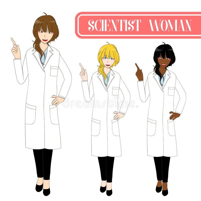 Fastställd gullig forskare Woman Pointing Up med den lyckliga framsidan Kvinnlig för medicinsk personal Full kroppvektorillustrat royaltyfri illustrationer