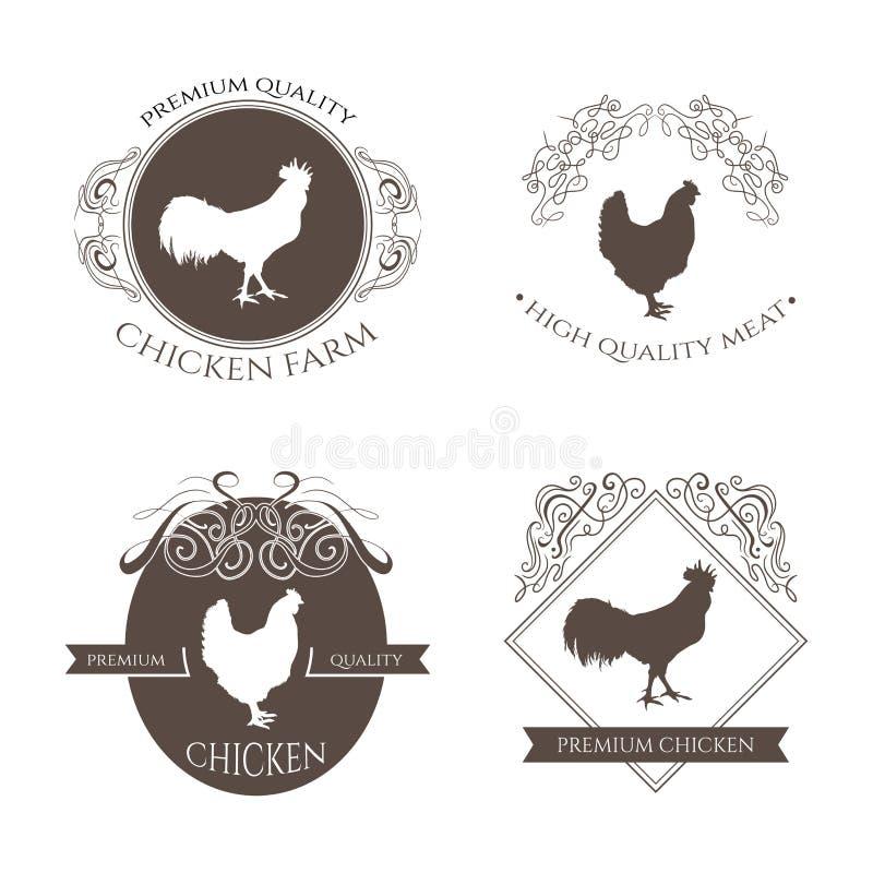 Fastställd höna och tuppen brukar logoemblemet med calligraphic dekorativa beståndsdelar Naturlig och ny lantgård vektor illustrationer