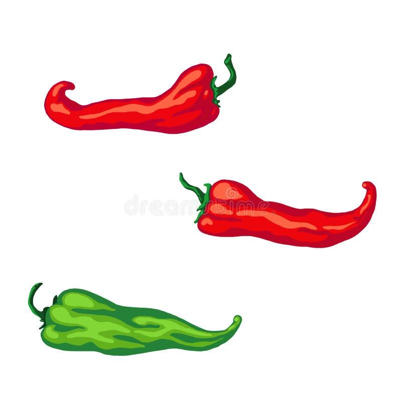 Fastställd hand som dras för att skissa röd och grön peppar för varm chili som isoleras på vit bakgrund royaltyfri illustrationer