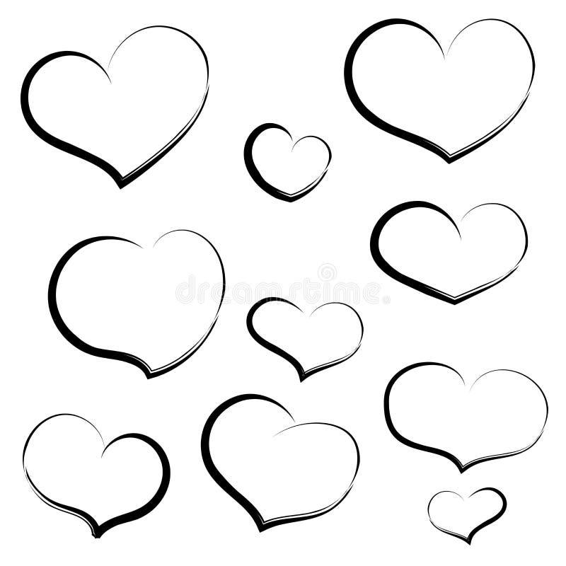 Fastställd handattraktionhjärta i översikt Hjärtor för att gifta sig, valentin da royaltyfri illustrationer