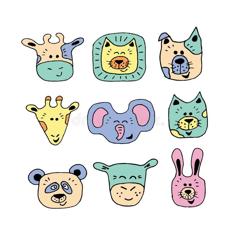 Fastställd handteckning för djur framsida vektor illustrationer