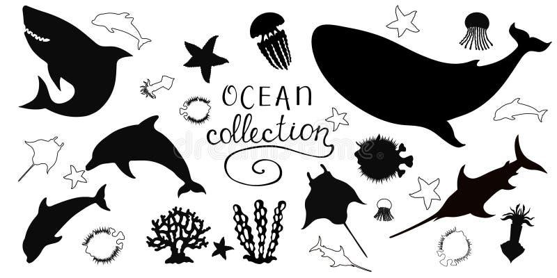Fastställd havcollecctionDiodon, Xiphiasgladius, Delphin, haj, bläckfisk, på vit bakgrund arkivbilder