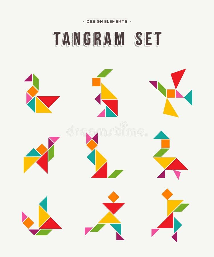 Fastställd idérik konst för Tangram av färgrika djura former vektor illustrationer