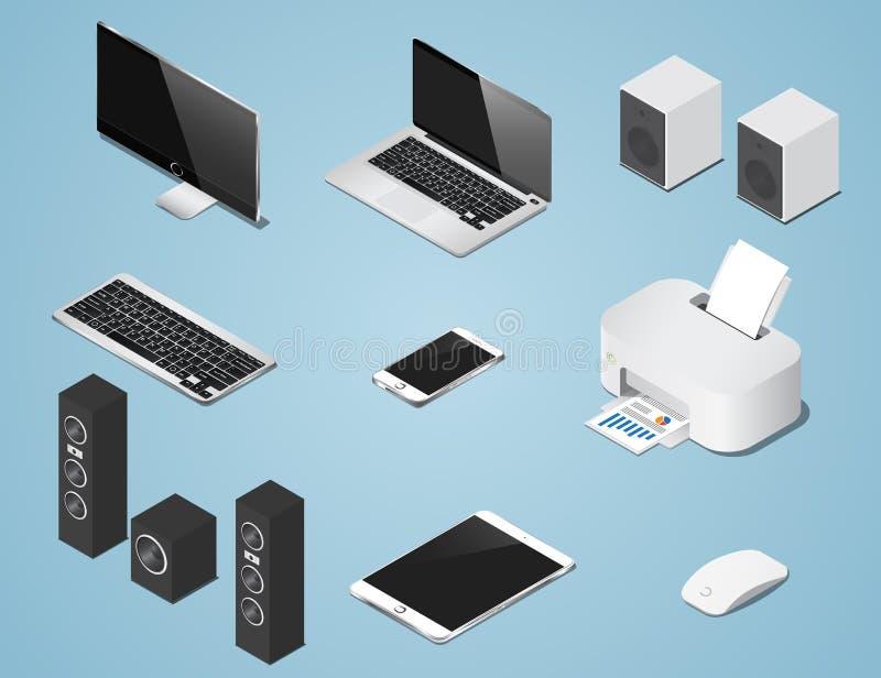 Fastställd illustration för isometriska digitala objekt Samling av datorer och tillförsel stock illustrationer