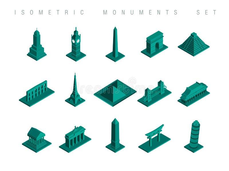 Fastställd illustration för isometriska loppmonument vektor illustrationer