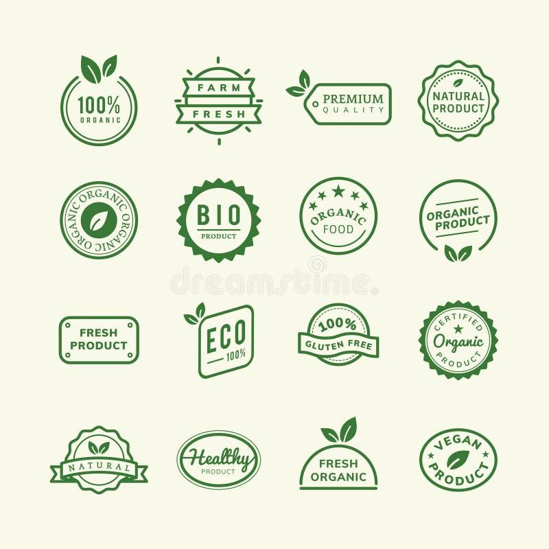 Fastställd illustration för organiska produktstämpelemblem vektor illustrationer
