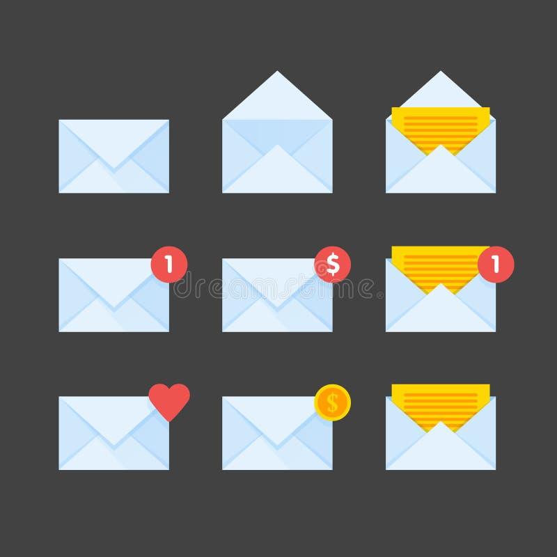 Fastställd illustration för postkuvertsymboler stock illustrationer