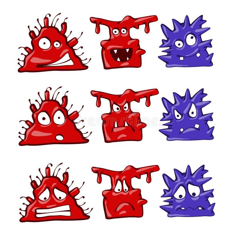 Fastställd illustration för tecknad filmmonster Uppsättning för anteckningsbok- eller bärbar datorfärgklistermärke Isolerat på vi arkivbilder