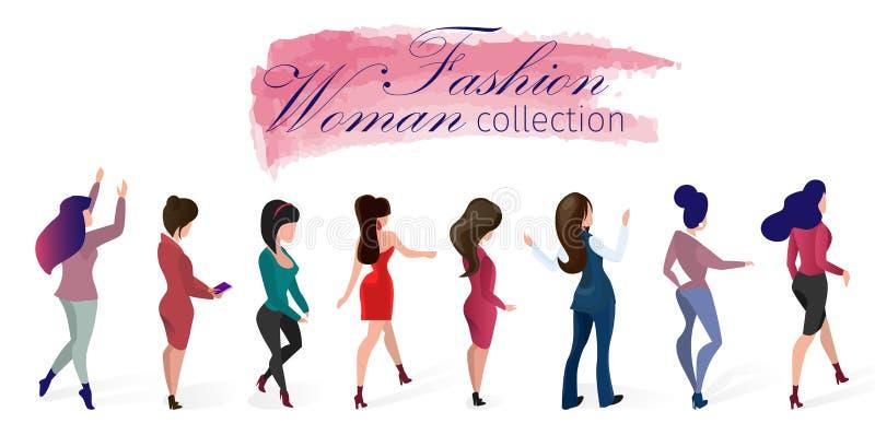 Fastställd illustration för vektor för modekvinnasamling royaltyfri illustrationer