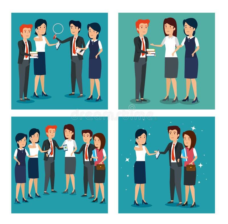 Fastställd information om plan för businesspeopleteamworkstrategi royaltyfri illustrationer
