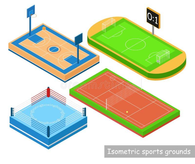 Fastställd isomeric sportjordning Cirkel tennisbanor, stadion, basketdomstol i isometrisk stilisolering på vit bakgrund royaltyfri illustrationer