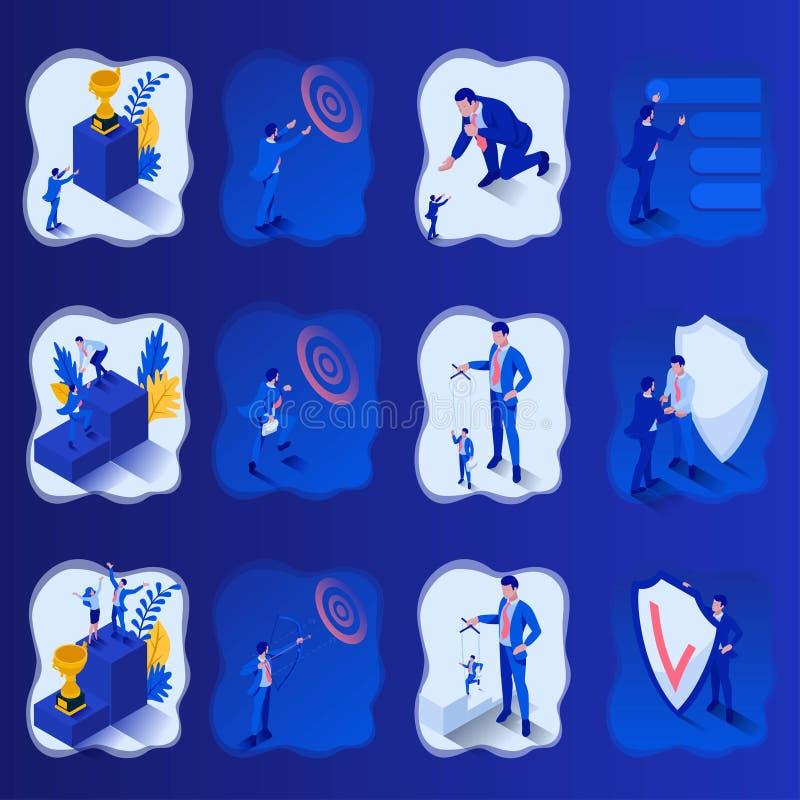 Fastställd isometrisk liten begreppskontroll en docka, skydd skölden som just nu siktar målet, start Att att skapa rengöringsduk royaltyfri illustrationer