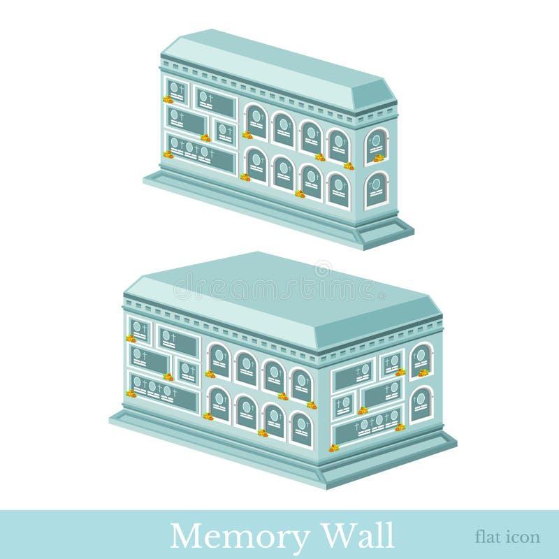 Fastställd isometrisk symbol för vektor eller infographic beståndsdelar som föreställer byggnader av väggen av minnet stock illustrationer