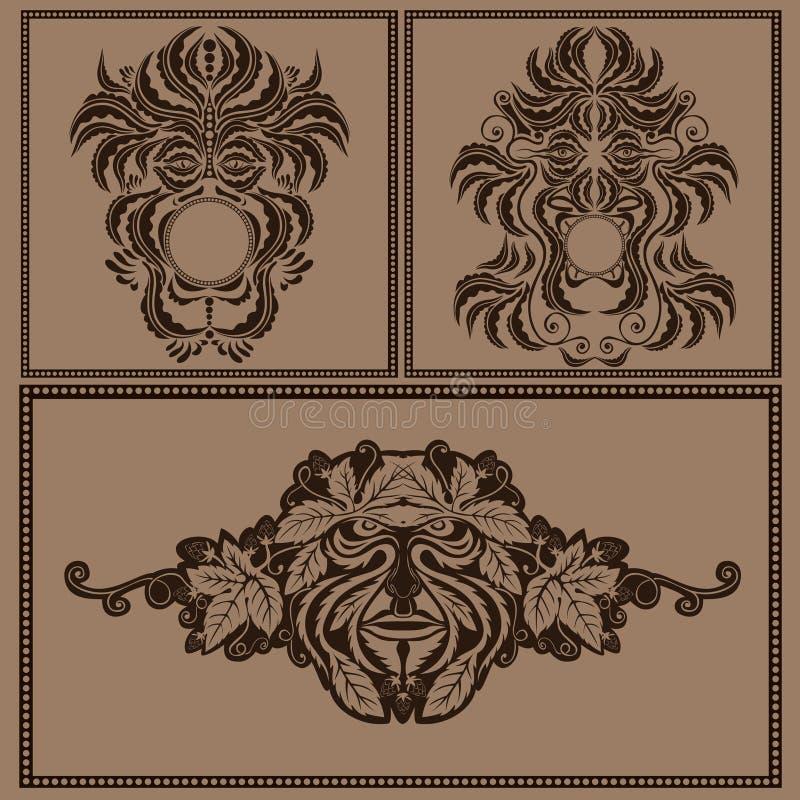 Fastställd kontur för gud eller för jäkel för ande för maskeringsframsidaskog royaltyfri illustrationer