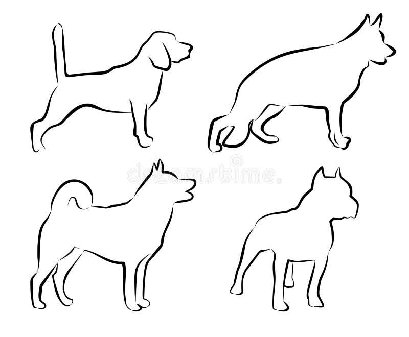 Fastställd konturhundkapplöpning petshop som är veterinar royaltyfri illustrationer
