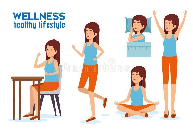 Fastställd kvinnalivsstiljämvikt med sömn, avkoppling och att äta vektor illustrationer