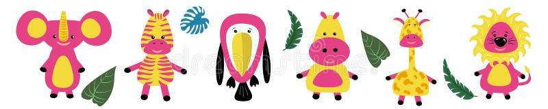 Fastställd linje för lantgårddjur giraff flodhäst, sebra, lejon, tukan Barns samling S?nka designstil Vit bakgrund vektor illustrationer