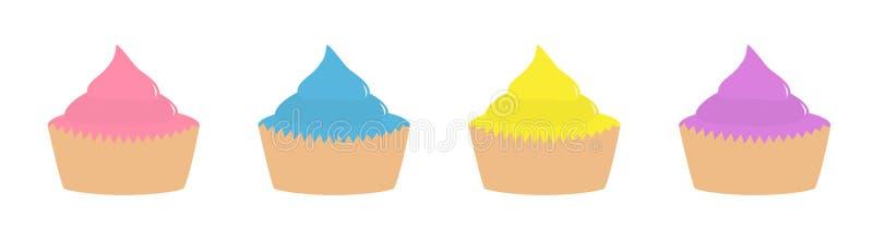 Fastställd linje för muffinsymbol Sänka designstil Vit bakgrund isolerat vektor illustrationer