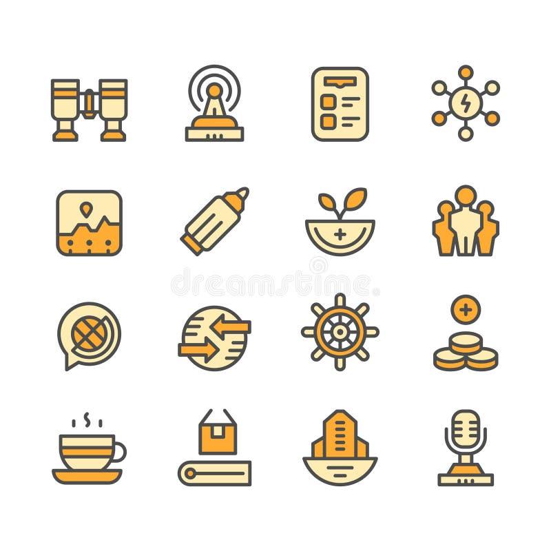 Fastställd linje symboler av affären royaltyfri illustrationer