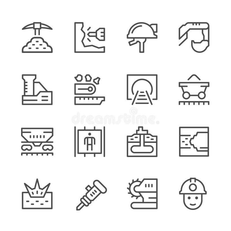 Fastställd linje symboler av att bryta royaltyfri illustrationer