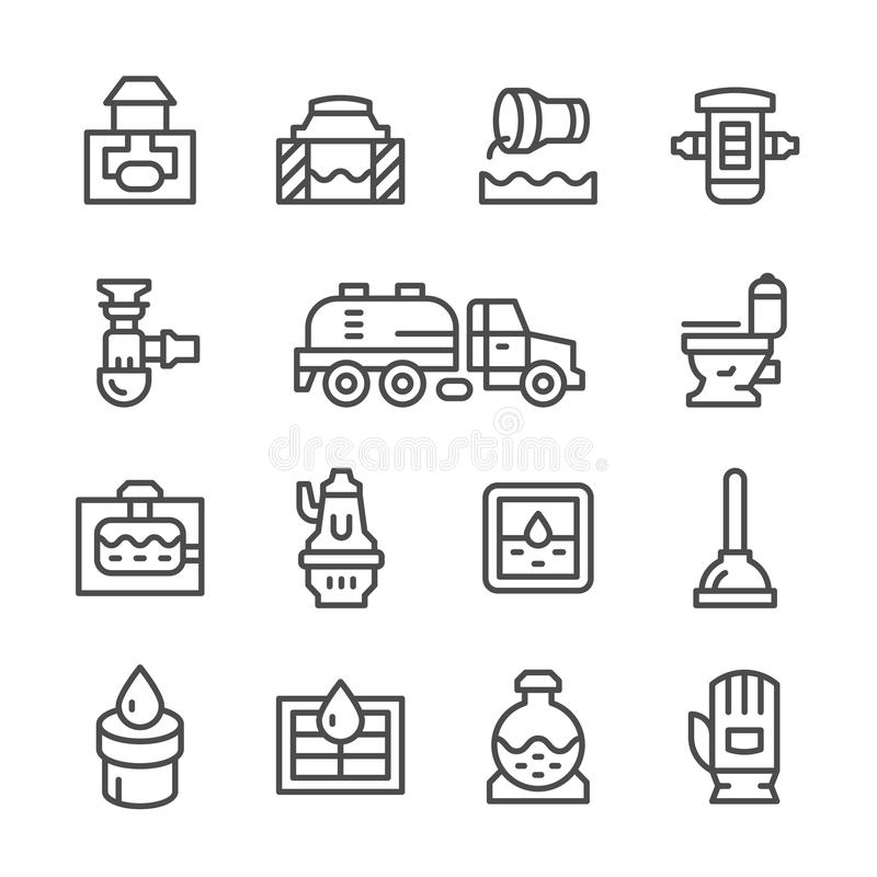 Fastställd linje symboler av avloppsnätet stock illustrationer