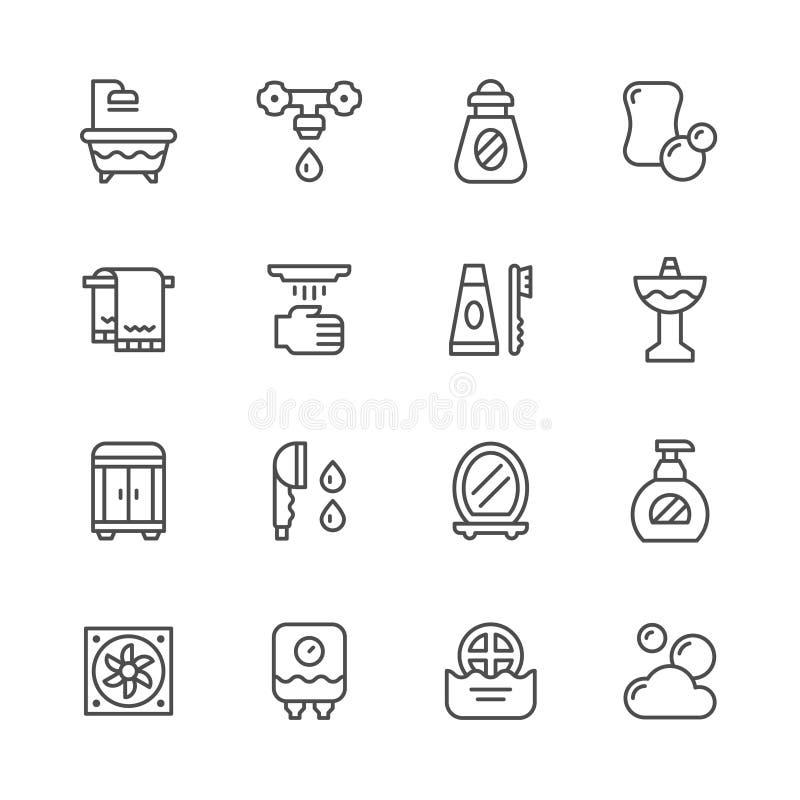Fastställd linje symboler av badrummet royaltyfri illustrationer