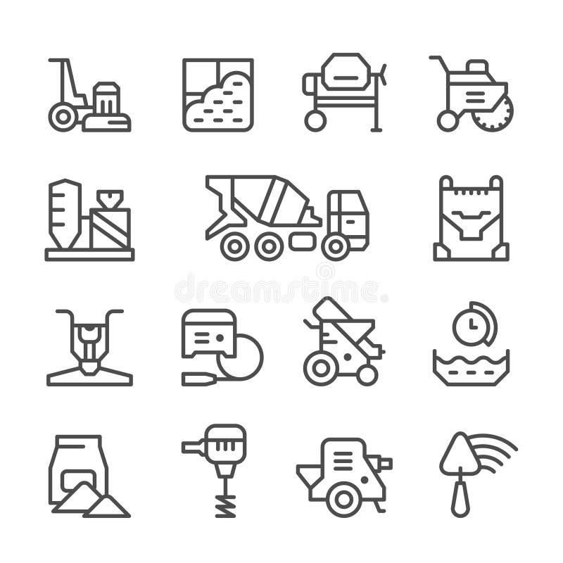Fastställd linje symboler av betong vektor illustrationer