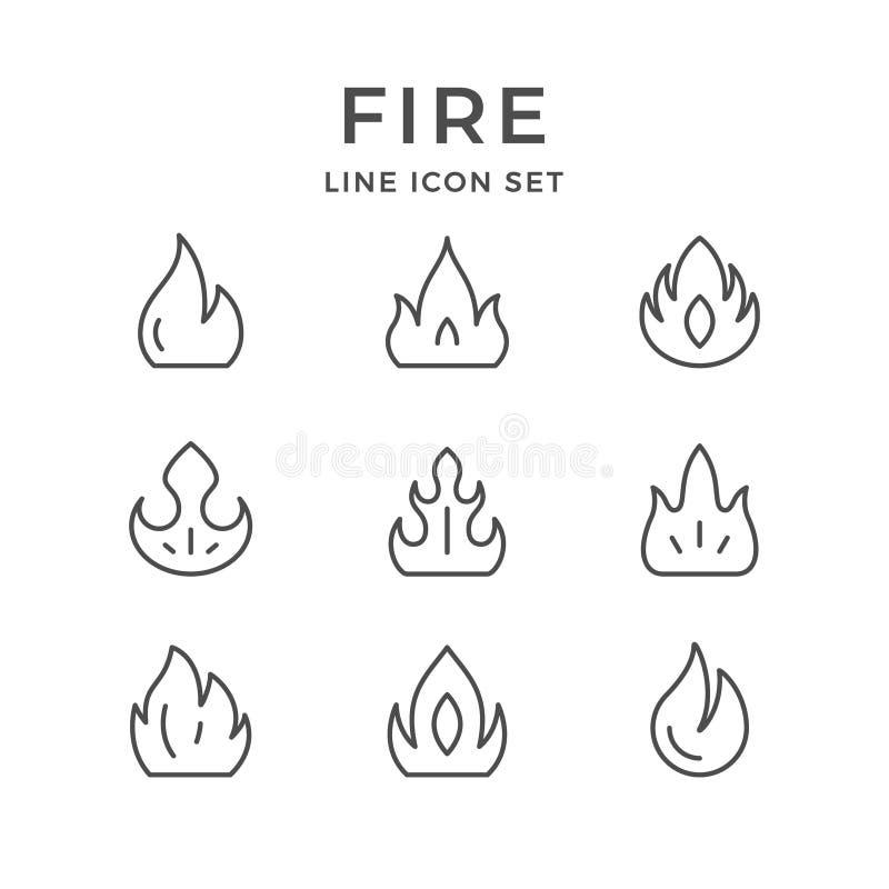 Fastställd linje symboler av brand royaltyfri illustrationer