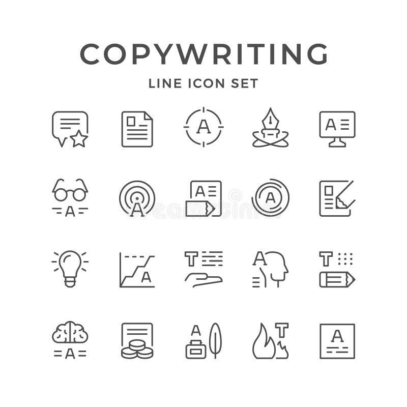 Fastställd linje symboler av copywriting vektor illustrationer