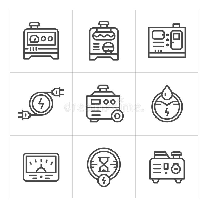 Fastställd linje symboler av den elektriska generatorn royaltyfri illustrationer