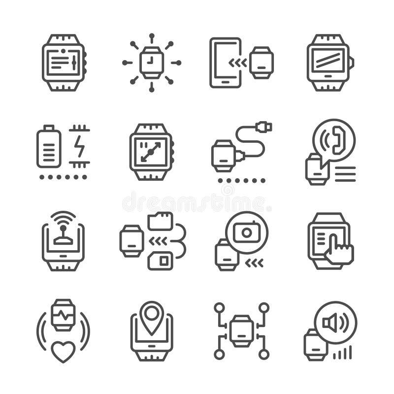 Fastställd linje symboler av den smarta klockan vektor illustrationer