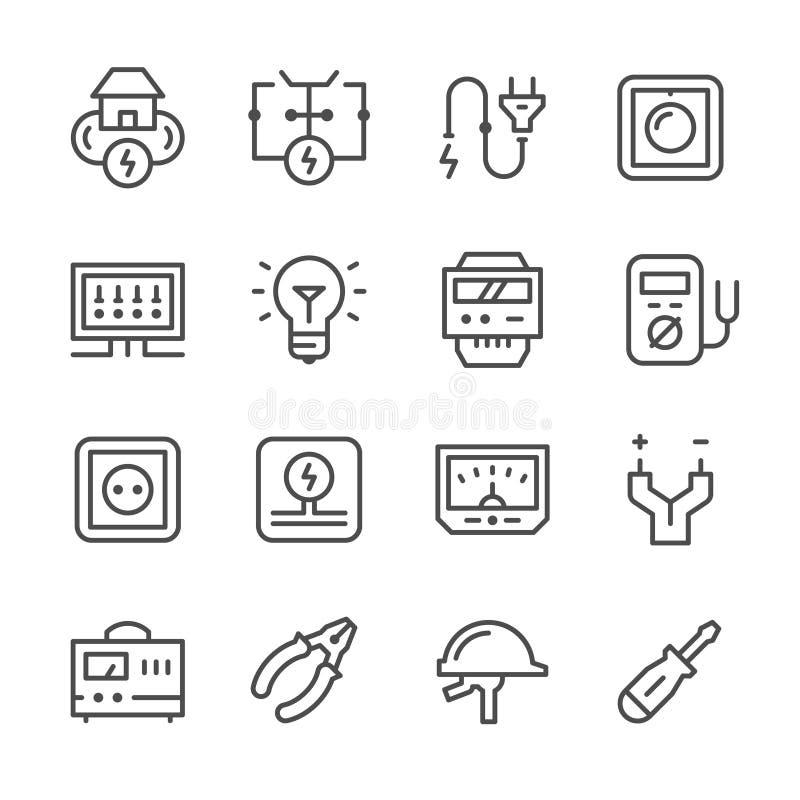 Fastställd linje symboler av elektricitet royaltyfri illustrationer