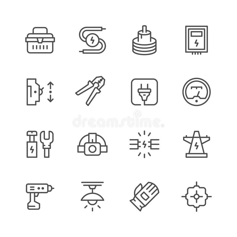 Fastställd linje symboler av elektricitet stock illustrationer