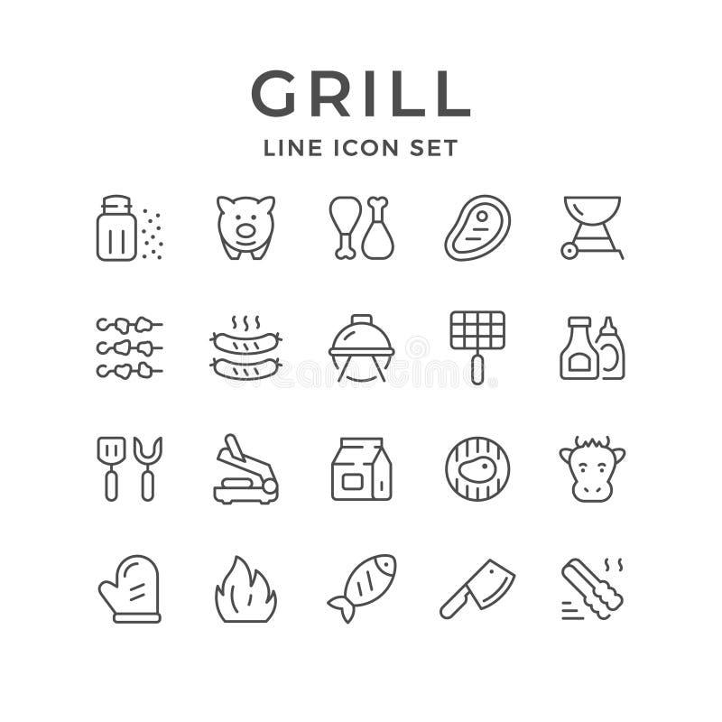 Fastställd linje symboler av gallret royaltyfri illustrationer