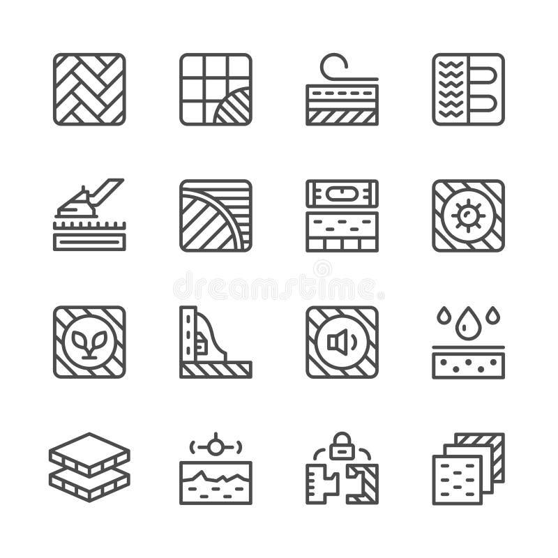 Fastställd linje symboler av golvet royaltyfri illustrationer