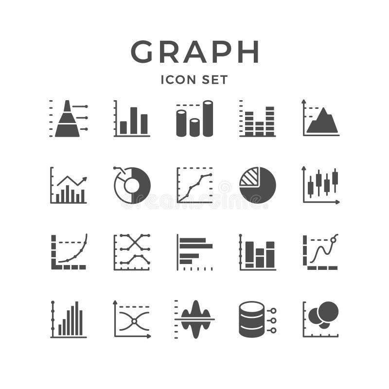 Fastställd linje symboler av grafen och diagrammet royaltyfri illustrationer
